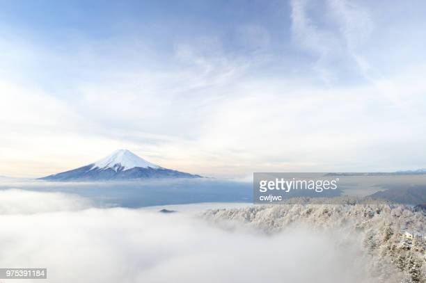aerial view of mount fuji, japan - harmony stock pictures, royalty-free photos & images