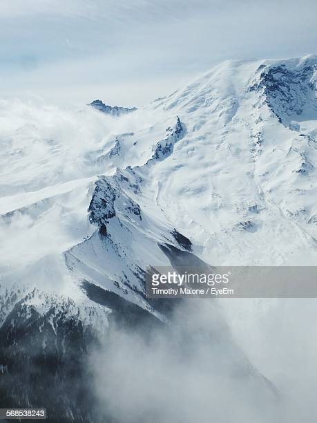 Aerial View Of Mount Rainier In Snow