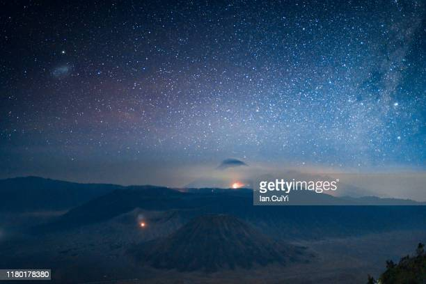 aerial view of mount semeru volcano, mount bromo, east java, indonesia - bromo tengger semeru national park stock pictures, royalty-free photos & images