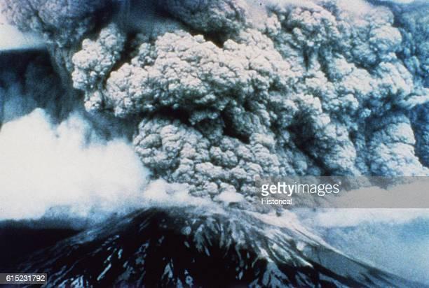 Aerial View of Mount St Helens Erupting