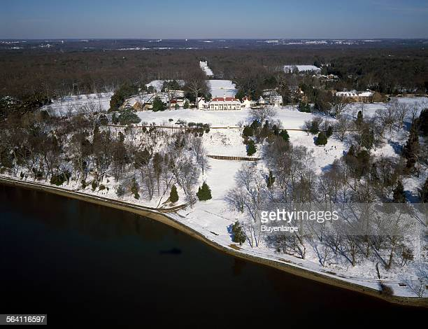 Aerial view of Mount Vernon estate and and its gardens in wintertime Mount Vernon Virginia