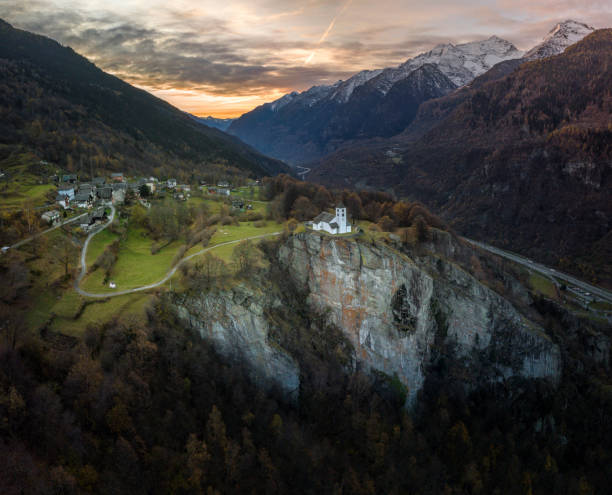 Aerial view of mountain church and valley