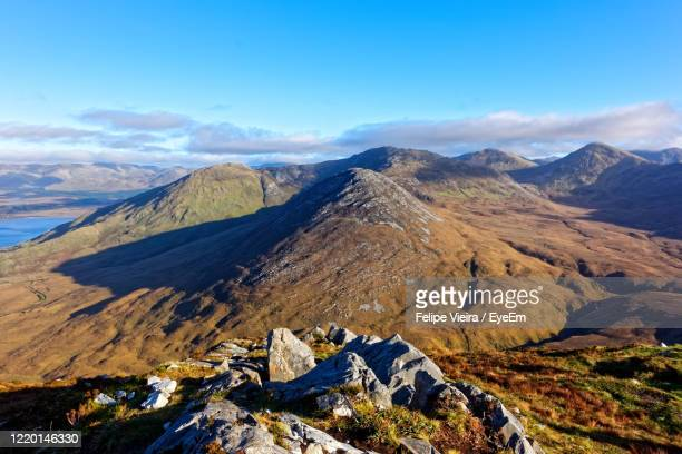 aerial view of mountain range against sky - galway stock pictures, royalty-free photos & images