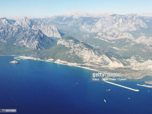 aerial view of mountain range - belek stock pictures, royalty-free photos & images