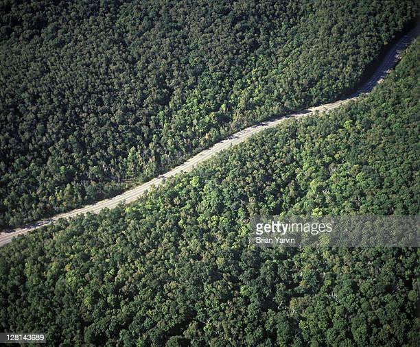 Aerial view of mountain road, Lake Placid region, Adirondack Mountains, New York, USA