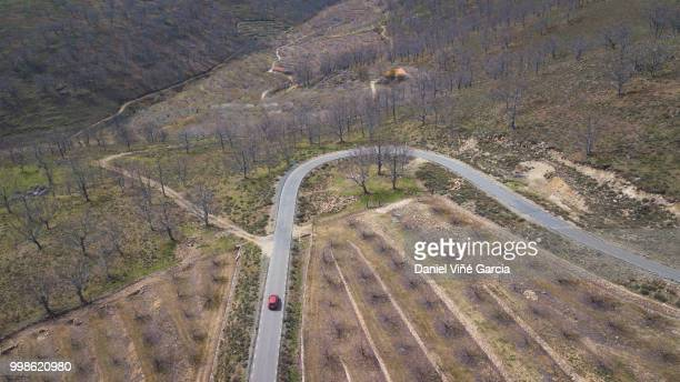 Aerial view of mountain road.