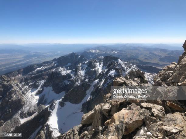 aerial view of mountains against clear blue sky - beaver creek colorado stock pictures, royalty-free photos & images
