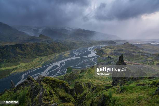aerial view of mountains and valley in thorsmork, iceland - volcanic rock stock pictures, royalty-free photos & images