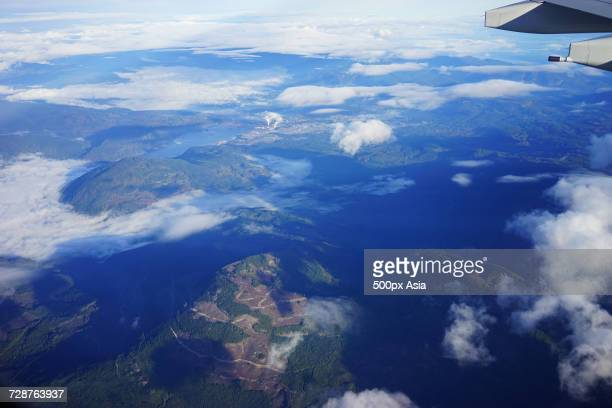 aerial view of mountains, canada - image stock pictures, royalty-free photos & images