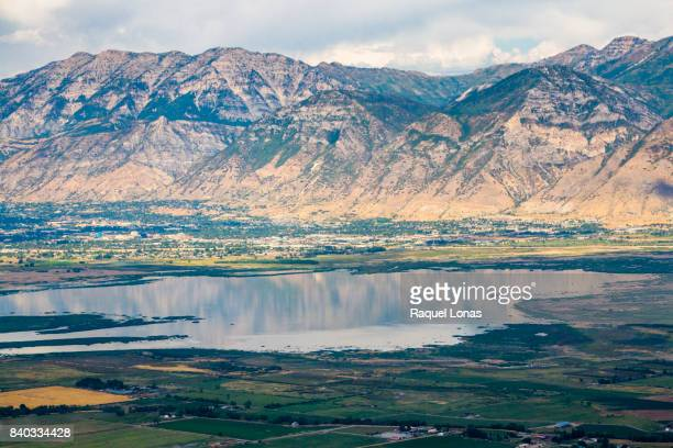 aerial view of mountains, lake, and town - provo stock pictures, royalty-free photos & images