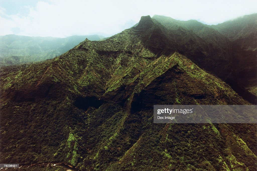 Aerial view of mountains with low lying clouds above them, Kauai, Hawaii : Stock Photo