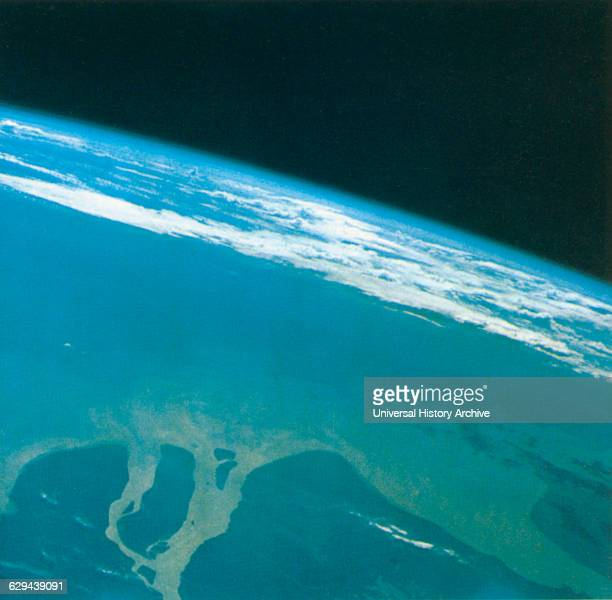Aerial View of Mouth of Yangtze River coast of China Taken from Gemini V Spacecraft August 23 1965