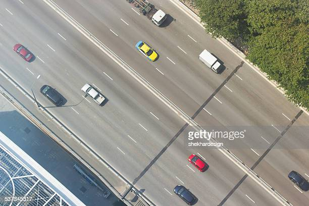 Aerial view of moving vehicles
