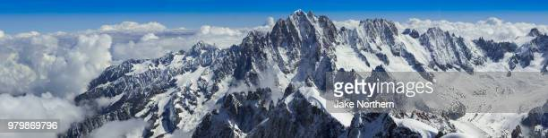 aerial view of mt blanc, aiguille du midi, chamonix, france - snowcapped mountain stock pictures, royalty-free photos & images