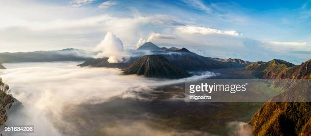aerial view of mt bromo from mt penanjakan, east java, indonesia - java stock pictures, royalty-free photos & images