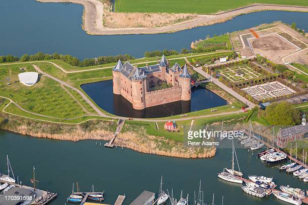 aerial view of muiderslot castle, muiden, holland - peter adams stock pictures, royalty-free photos & images