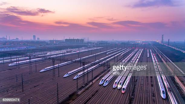 Aerial view of multiple units at a parking lot of China's biggest maintenance base for multiple units on January 23 2017 in Wuhan Hubei Province of...