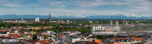Aerial view of Munich from Olympiapark, Munich, Bavaria, Germany