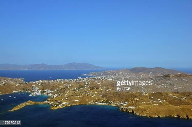 aerial view of mykonos, cyclades - ver a hora stockfoto's en -beelden
