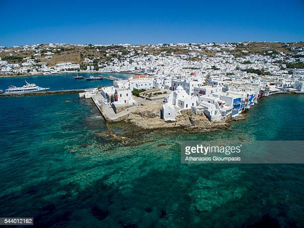 Aerial view of Mykonos Town or Chora on May 16 2016 in Mykonos Greece