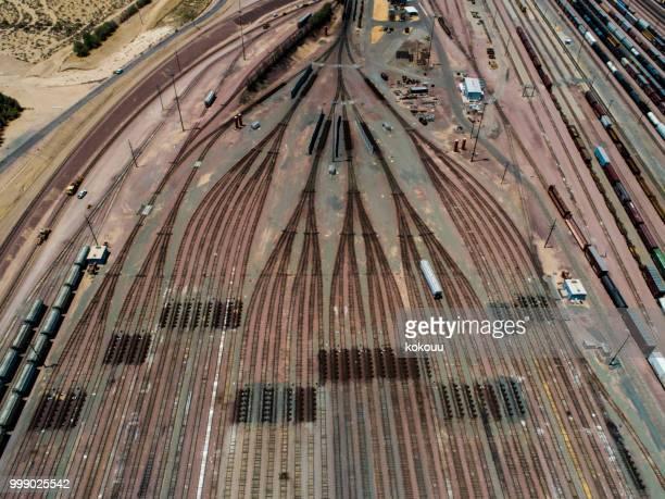 Vue aérienne de rails multiples ramifications