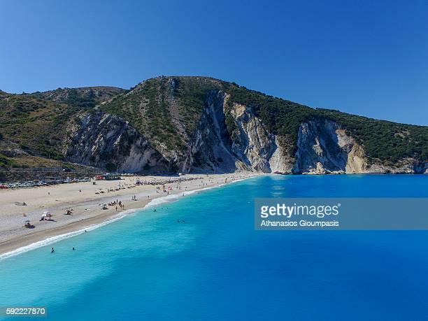 Aerial view of Myrtos Beach on August 15 2016 in Kefallonia Greece