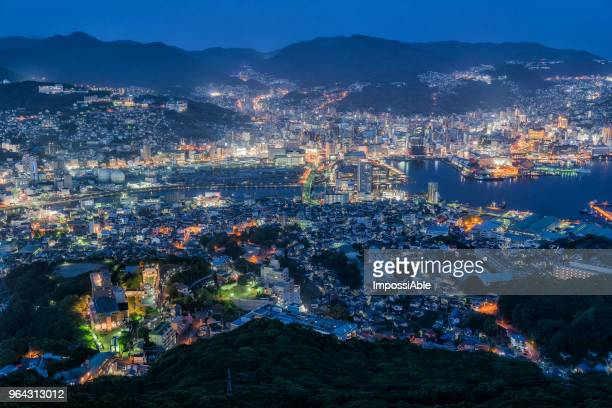 aerial view of nagasaki cityscape from mount inasa viewpoint at twilight - nagasaki prefecture stock pictures, royalty-free photos & images