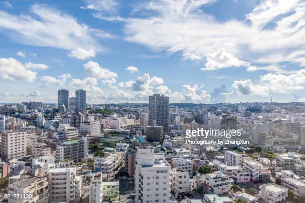 Aerial view of Naha cityscape in Okinawa, Japan at day time, summer.