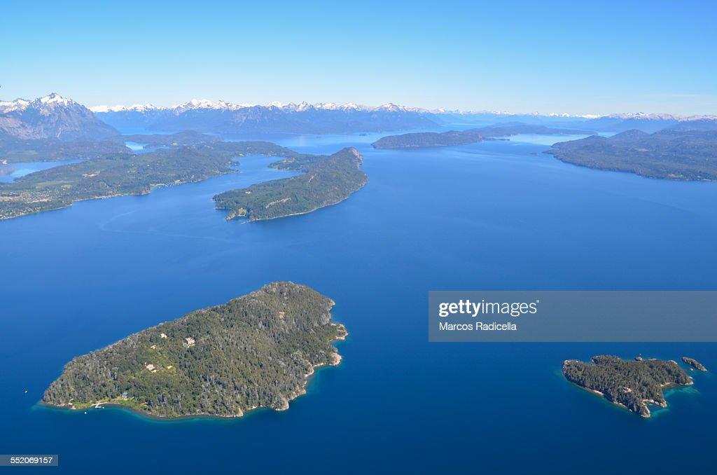 Aerial view of Nahuel Huapi lake, Bariloche : Stock Photo