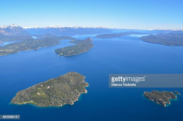 aerial view of nahuel huapi lake, bariloche - radicella stock pictures, royalty-free photos & images