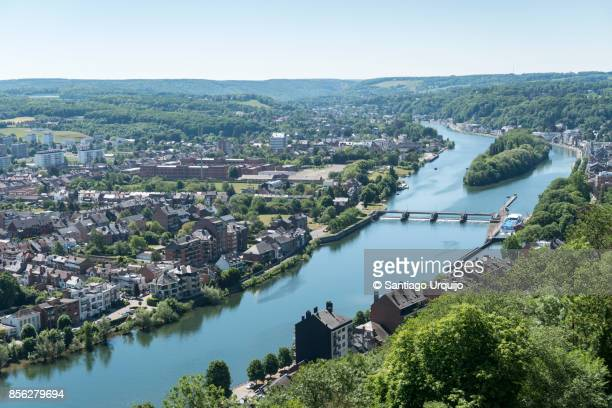 aerial view of namur and meuse river - ナミュール州 ストックフォトと画像