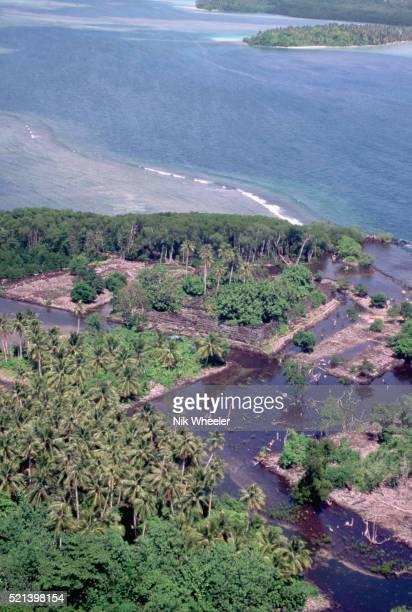 aerial view of nan madol ruins - marina wheeler foto e immagini stock