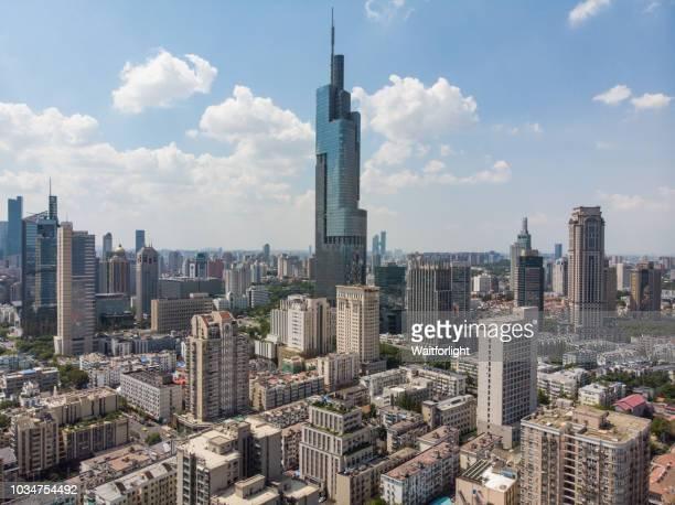 aerial view of nanjing urban skyline,jiangsu province,china. - nanjing stock pictures, royalty-free photos & images