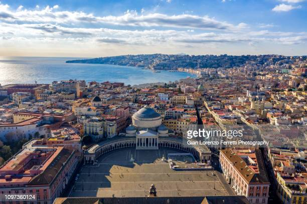 aerial view of naples, italy - italia foto e immagini stock