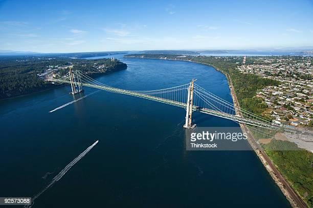 Aerial view of Narrows Bridge, Tacoma, Washington