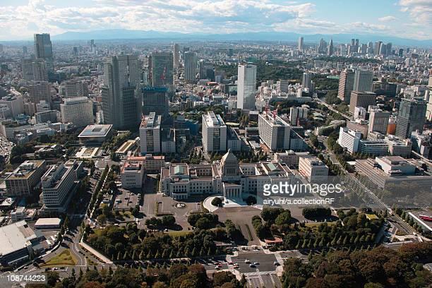 Aerial view of National Diet Building, Chiyoda ward, Tokyo Prefecture, Honshu, Japan