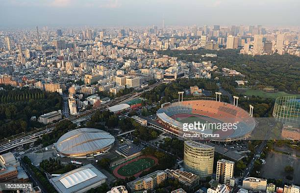 Aerial view of National Olympic Stadium which will host the Opening and closing ceremony Football athletics and Rugby events Tokyo Metropolitan...