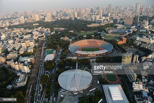 Aerial view of National Olympic Stadium which will host the Opening and closing ceremony, Football, athletics and Rugby events, Tokyo Metropolitan...