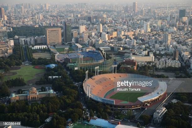 Aerial view of National Olympic Stadium which will host the Opening and closing ceremony, Football, athletics and Rugby events during the Tokyo 2020...