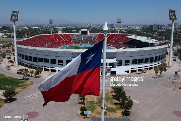 Aerial view of National Stadium Julio Martinez Pradanos on November 6, 2019 in Santiago, Chile. As a result of the protests that started on October...
