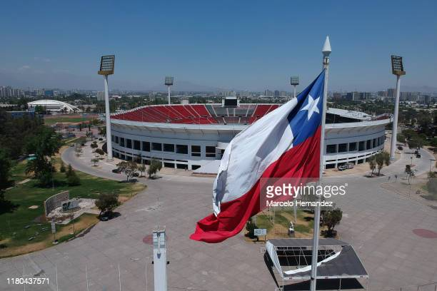 Aerial view of National Stadium Julio Martinez Pradanos on November 6 2019 in Santiago Chile As a result of the protests that started on October 18...