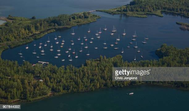 aerial view of natural harbour - lake ontario stock pictures, royalty-free photos & images
