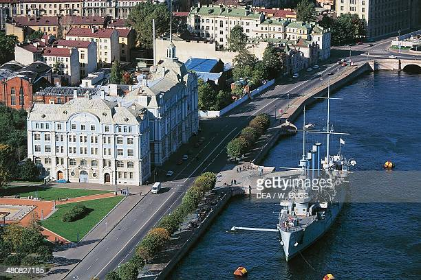 Aerial view of Naval Academy and Cruiser Aurora on Neva River Saint Petersburg historic centre Russia