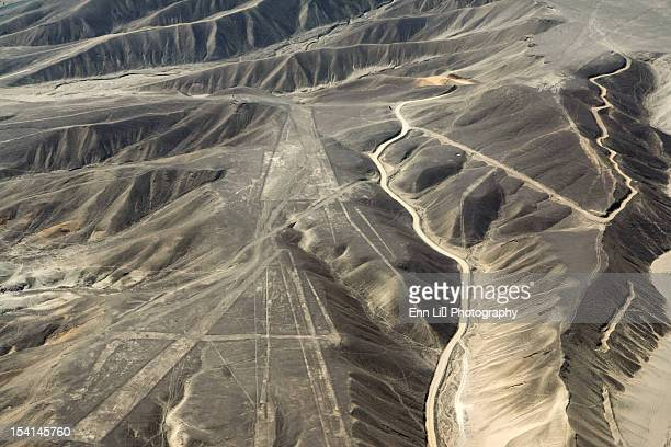 aerial view of nazca lines - trapezoid stock pictures, royalty-free photos & images