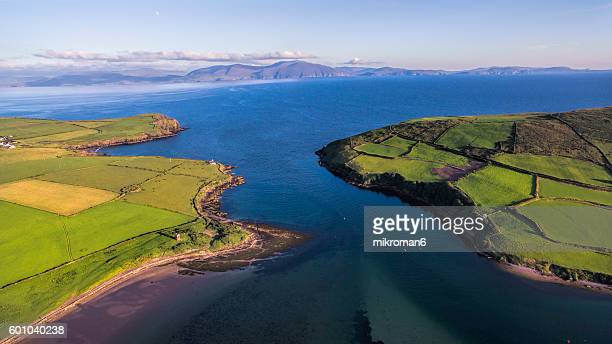 Aerial view of neck between Mountains of Dingle Peninsula, County Kerry.