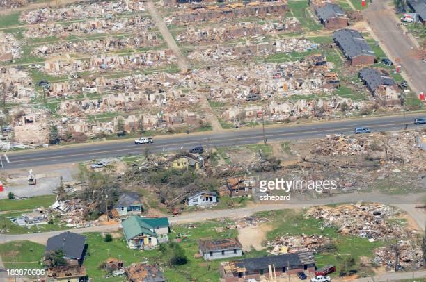 Aerial view of neighborhood demolished by tornado