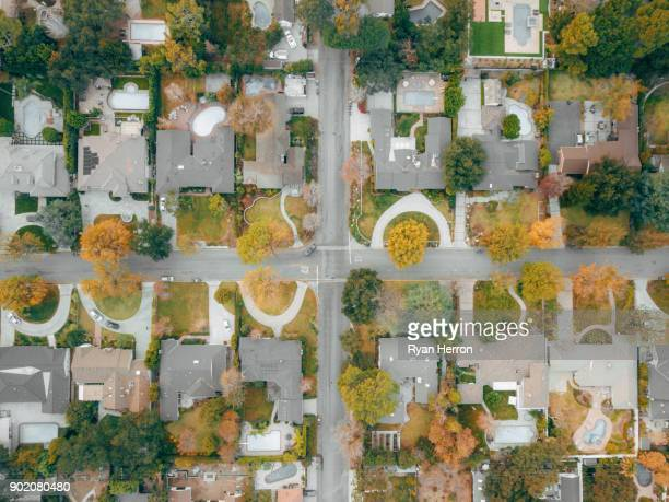 aerial view of neighborhood - canberra stock pictures, royalty-free photos & images