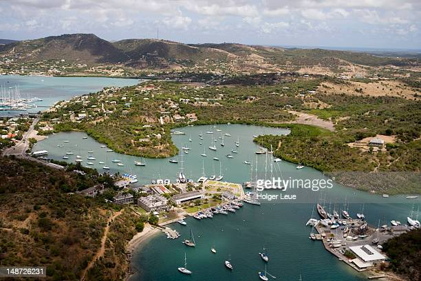 aerial view of nelson's dockyard. - antigua & barbuda stock pictures, royalty-free photos & images