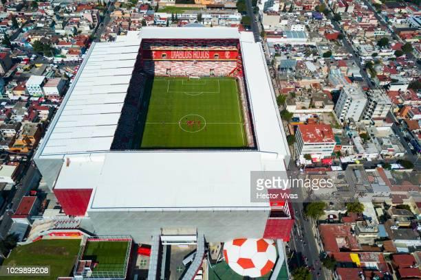 Aerial view of Nemesio Diez Stadium prior the 8th round match between Toluca and Santos Laguna as part of the Torneo Apertura 2018 Liga MX at Nemesio...
