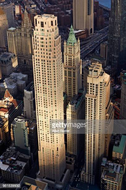 Aerial view of Neo Gothic skyscrapers in downtown Manhattan